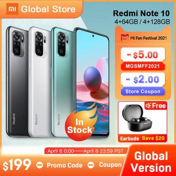 W magazynie wersja globalna Xiaomi Redmi Note 10 4GB 64GB 4GB 128GB 6GB 128GB Smartphone Snapdragon 678 33W wyświetlacz AMOLED 48MP tanie i dobre opinie Niewymienna CN (pochodzenie) Android Zamontowane z boku 5000 Adaptacyjne szybkie ładowanie english Rosyjski Niemieckie