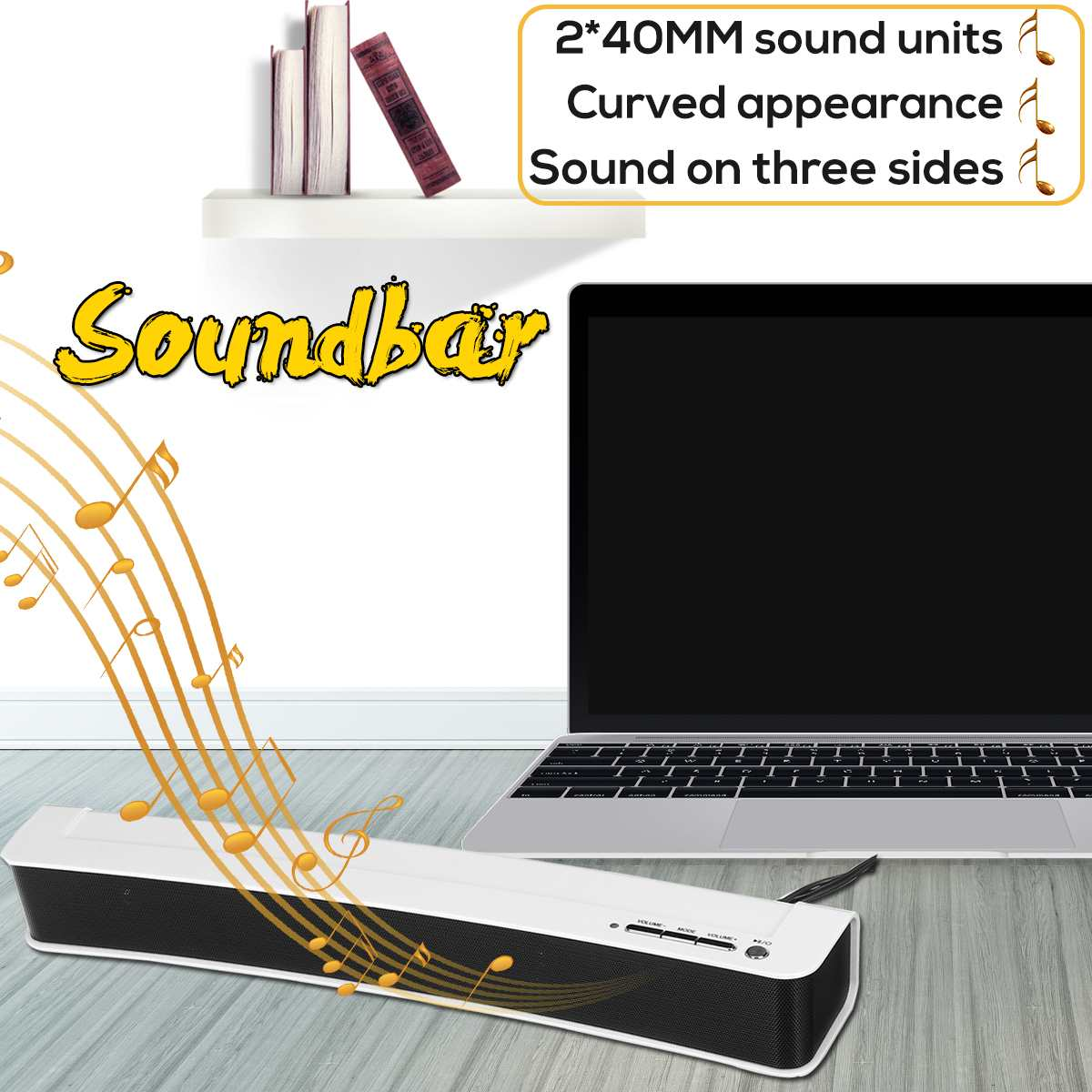 Portable USB Soundbar Speaker For Computer PC Home Stereo Curved Sound Bar Bass Speaker System