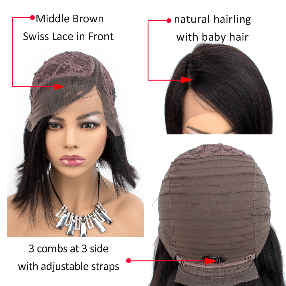 Straight Short  Wigs 150%   Hair Can Be Dyed Part Lace Bob  Wigs Pre-Plucked Bleached Knots 5