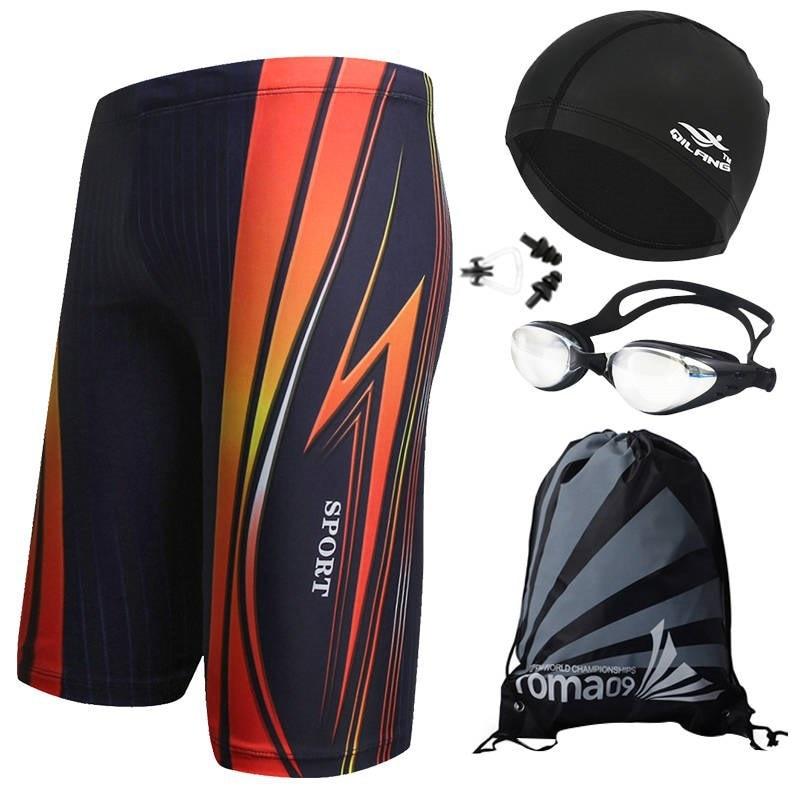 Men Extra-large Tour Plus-sized Short Code Shorts Loose-Fit Quick-Dry Swimwear Swimming Cap Set