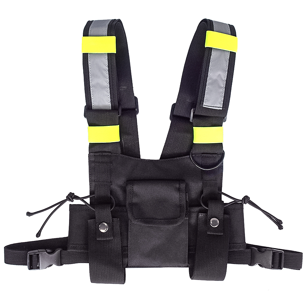 Outdoor Hunting Chest Bag Highly Visible Reflective Radio Harness Chest Rig Front Pack Pouch Holster Vest Bag for Walkie Talkie