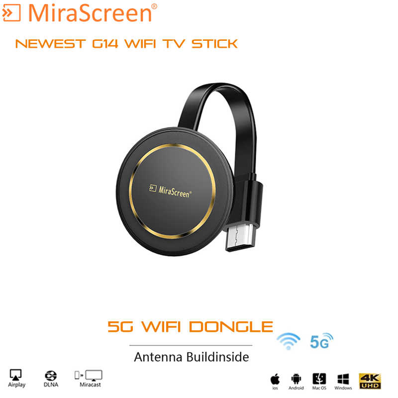 Mirascreen G14 TV Stick 5G Wireless 4K Wi Fi Tampilan Dongle Ezcast Airplay HDMI Google Chromecast Cast untuk YouTube