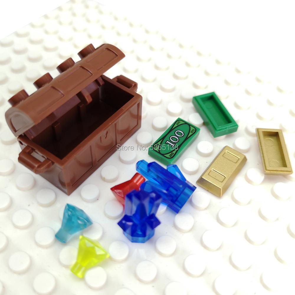 Treasure Set Chest Diamonds Ore Coin Gold Bars Block Toy Childrens Gift
