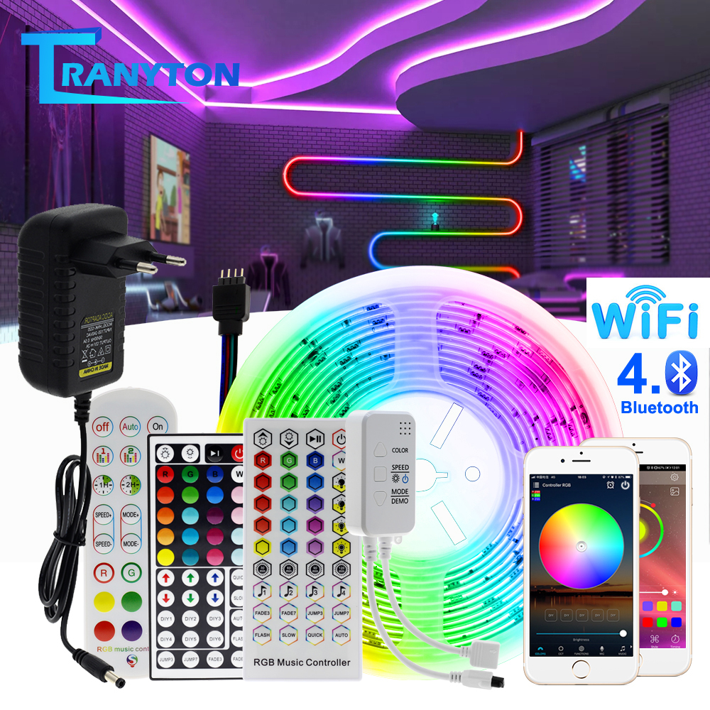 RGB LED Strip Light 5050 2835 Flexible LED Light Strip 10M 15M 20M 12V RGB LED Tape Set wiht Wifi / Bluetooth Music Controller