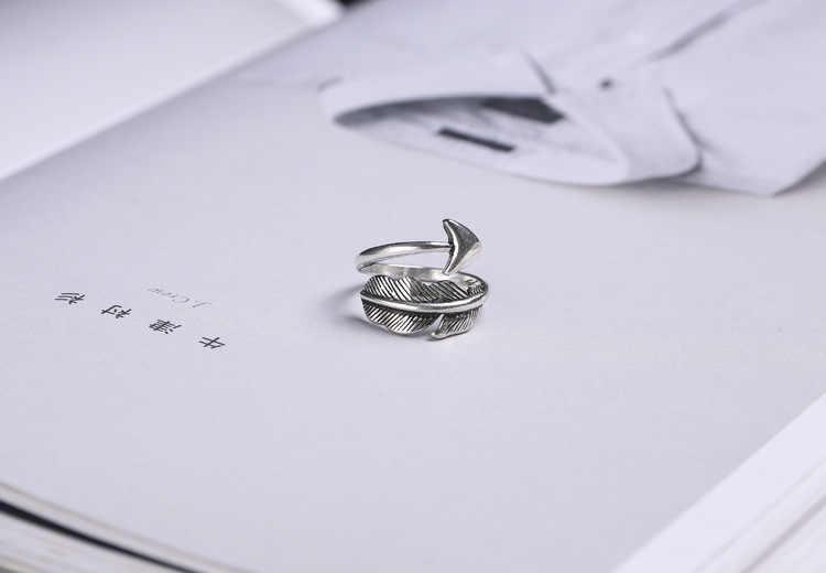 100% 925 เงินสเตอร์ลิง Retro เงินไทยลูกศร Lady Finger แหวนเครื่องประดับสำหรับผู้หญิงเปิดแหวนไม่มีขายส่งของขวัญ