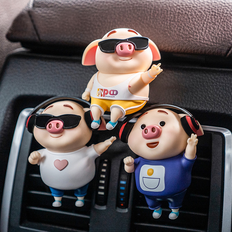 Cool Pig Car Air Freshener Car Perfume Scent Clip Refill Fragrance Auto Outlet Vent Car Interior Decoration