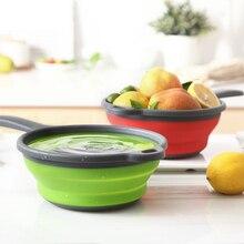 Лидер продаж складной силиконовый дуршлаг фрукты овощи стиральная корзина сетчатый складной осушитель с ручкой Кухня инструмент