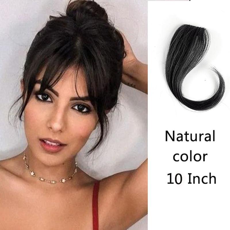 HOUYAN 25-35 см натуральные человеческие волосы на заколках на лицевой стороне челки женщина с поддельной бахромой волосы - Цвет: ZF1023-2
