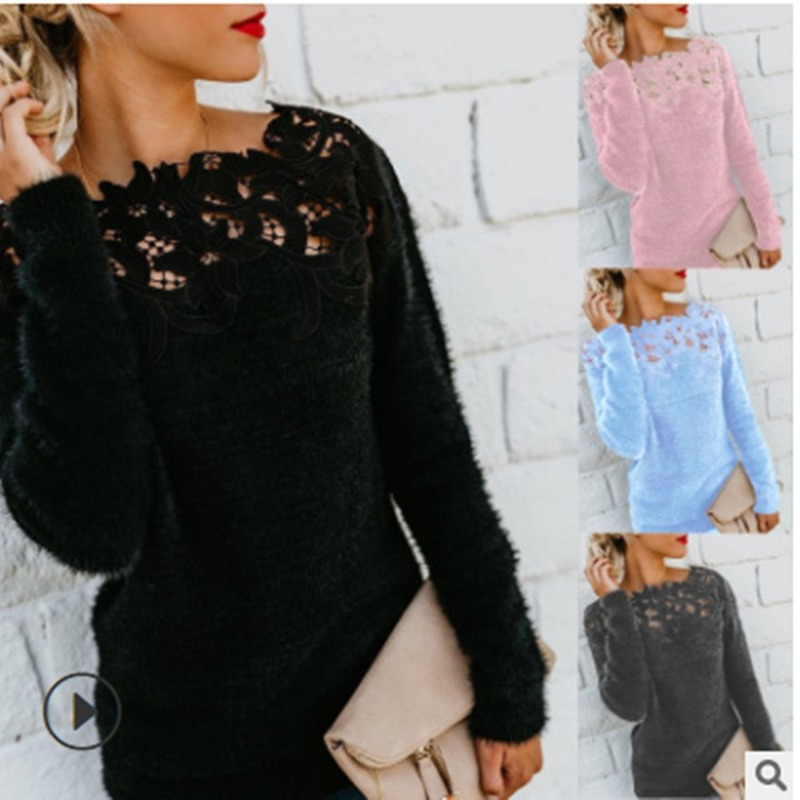 Women's Fashion Autumn And Winter Plush Warm Tops Long Sleeve Pullovers Ladies Casual Slim Fit Knitted Lace Sweaters Tops