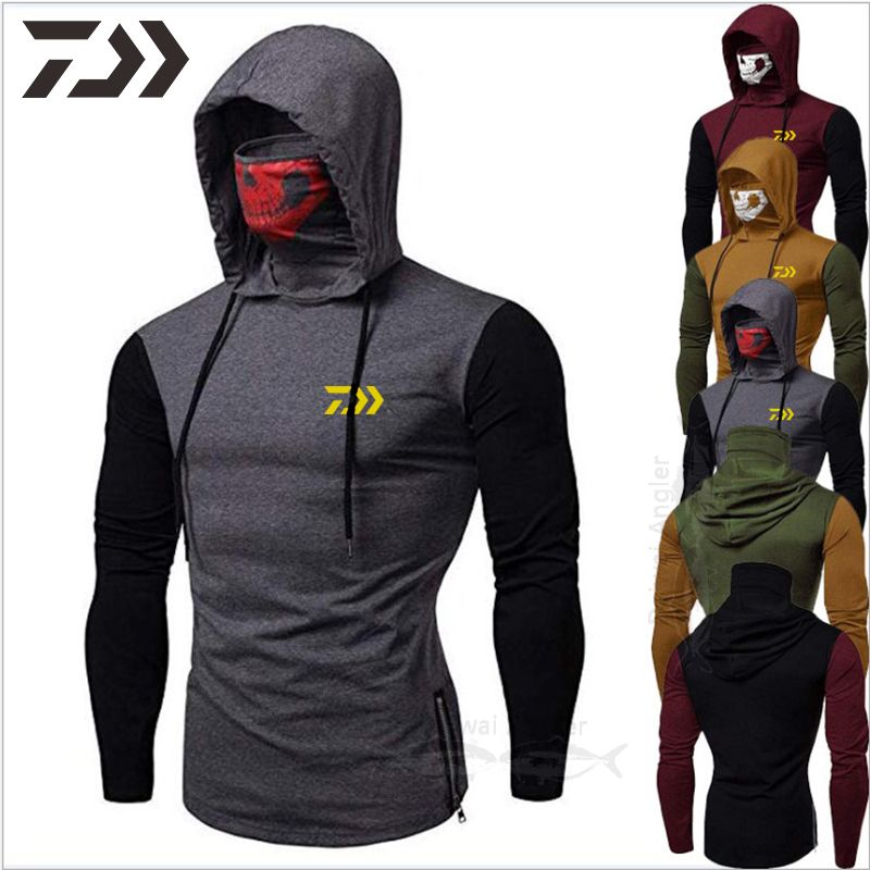 Daiwa Clothing Fishing Hoodies Men's Skull Masked Fishing Shirts Patchwork Hoodie With Mask Sweatshirt Hooded Fishing Clothes