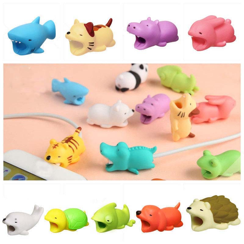 Cute Toys Cartoons Animal Bite Cable Data Protector Data Line Protection Dogs Cats Cute Shaper Winder Organizer #E