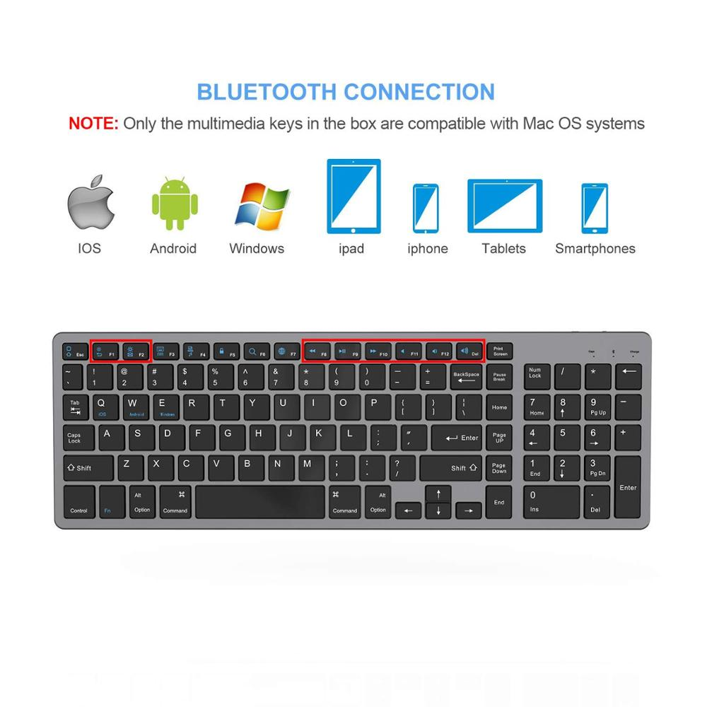 Zienstar Standard Full-Size Wireless Bluetooth Keyboard for Ipad,MACBOOK,LAPTOP,Computer and Android Tablet,Rechargeable Battery
