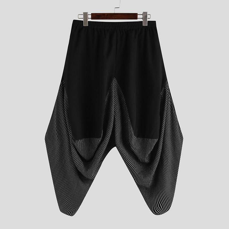 INCERUN Streetwear Men Dark Black Stripes Pocket Cargo Pants Man Wide Leg Harem Joggers Harajuku Hippy Style Trousers S-5XL
