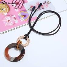 Ожерелье в стиле бохо с большим акриловым круглым кулоном женское