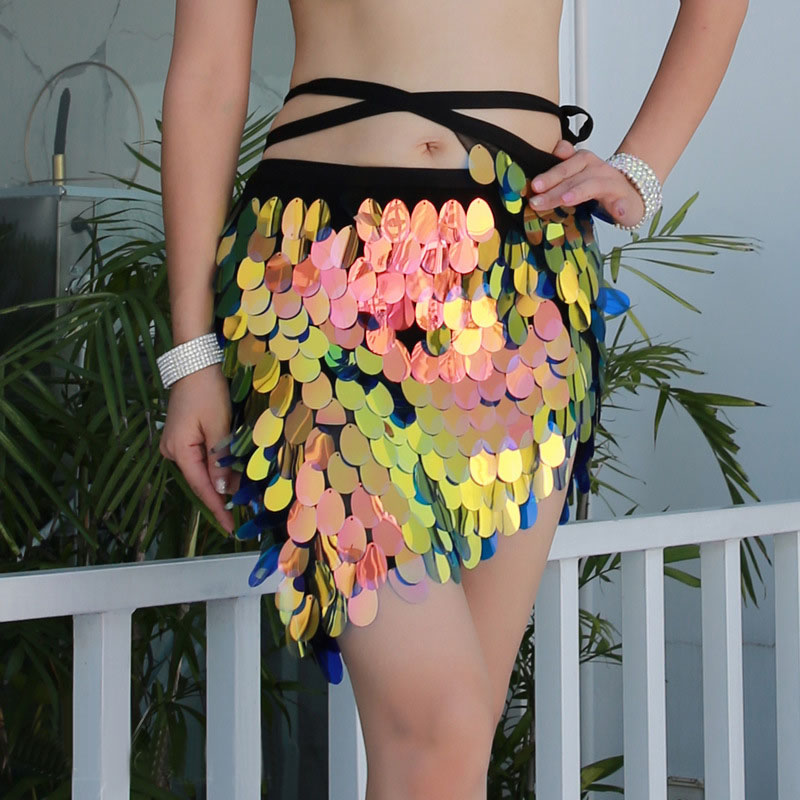 Sexy Women Oriental Belly Dance Bling Bling Big Sequins Mermaid Skirt Hip Scarf Short Skirt Bag Hip Square Sequin Skirt S,M,L,XL