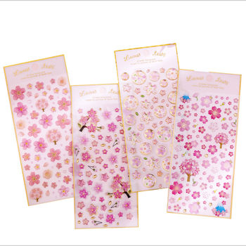 1pcs/lot Kawaii Girl Cherry Blossom Series Crystal Epoxy Stickers Decoration Scrapbooking DIY Sticker Stationery