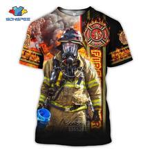 Summer Men Cool T-shirt 3D Printing Firefighter Fireman Short Sleeve T-shirt Women's Casual Fashion Streetwear Oversized T-shirt