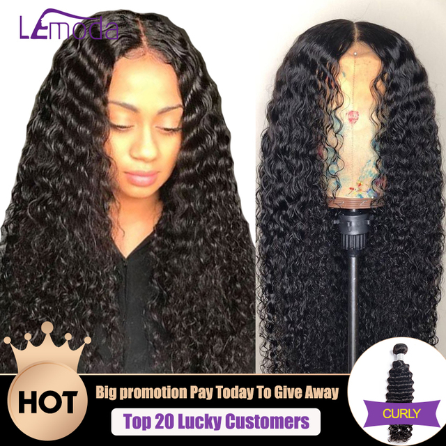 Curly Human Hair Wig Preplucked Malaysian Wig Natural Long Remy Hair 13x4 Glueless Lace Front Human Hair Wigs For Black Women