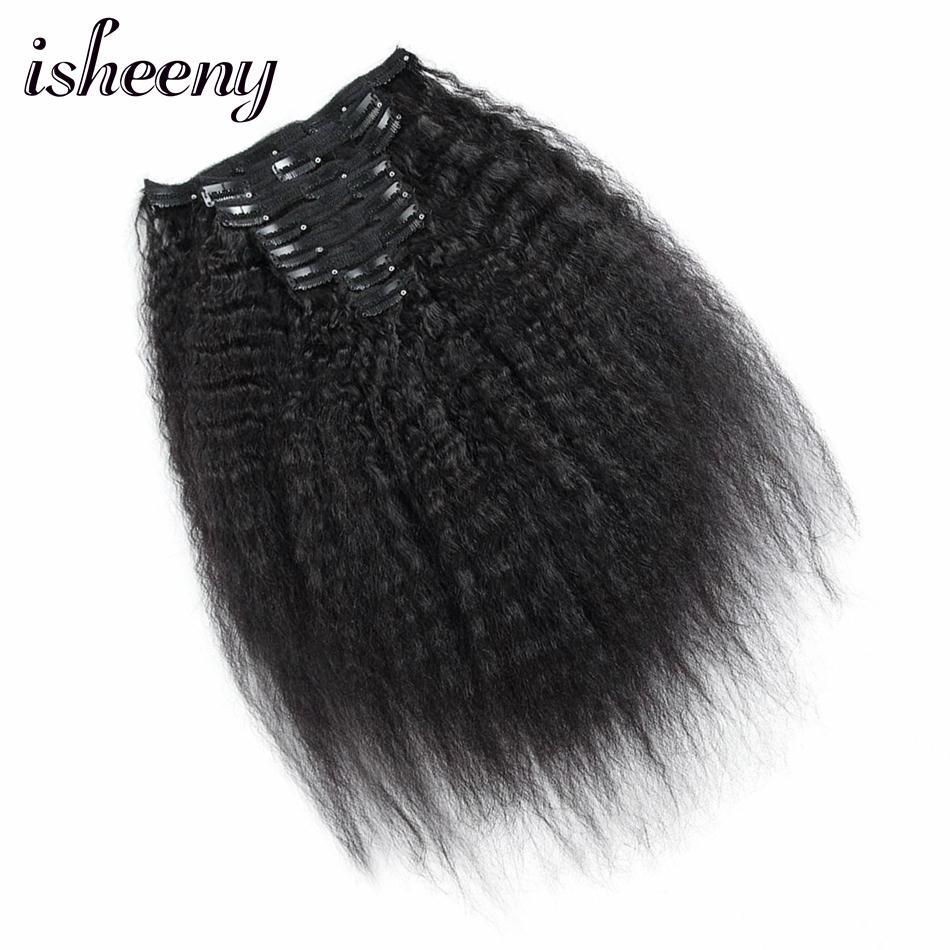 "Isheeny 8""-22"" Clip in Human Hair Extensions Remy Kinky Straight Human Hair Natural Black 8pcs Brazilian Hair 120g"
