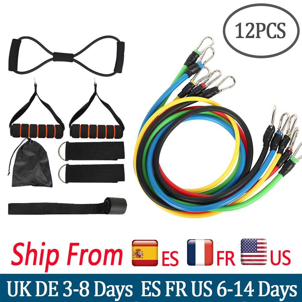 12Pcs/Set Resistance Bands set pull rope fitness band Expander Elastic Bands Yoga Tubes Latex bandas elasticas fitness equipment