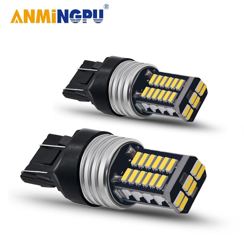 ANMINGPU 2X сигнальная лампа T20 7443 W21/5 Вт светодиодный 7440 W21W WY21W Canbus 4014SMD T25 светодиодный 3157 P27/7 Вт 3156 P27W сигнала поворота Стоп-сигнал светильник