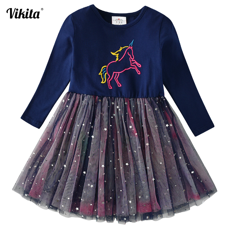 VIKITA Girls Unicorn Dress Princess Tutu Dress For Girls Children Birthday Party Licorne Vestidos Kids Autumn Winter Dresses
