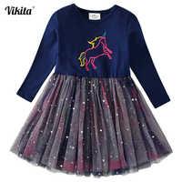 Vikita meninas unicórnio vestido de princesa tutu vestido para meninas crianças festa de aniversário licorne vestidos crianças outono inverno
