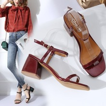 Summer 2020 New Sandals Women High Heels Fashion Ankle Strap Buckle Strap Casual Solid Rome Sandals Ladies Shoes High Quality prova perfetto new rome wedges sandals women rivet t strap high heels sandals real leather ankle buckle peep toe ladies sandals