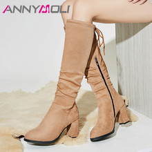 Купить с кэшбэком ANNYMOLI Women Boots Winter Knee High Boots Pleated Block High Heel Long Boots Zipper Round Toe Shoes Ladies Fall Big Size 33-43