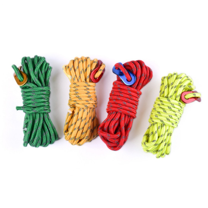 4m Reflective Paracord Outdoor Camping Tent Wind Rope 4mm Sun Shelter Awning With Aluminum Alloy Buckle
