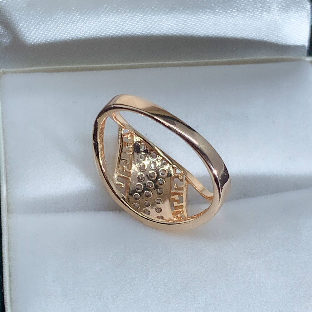 LUALA White Color Cubic Zirconia Unique Ring for Women 585 Rose Gold Geometric Finger Jewelry Party Gifts No Fade 6