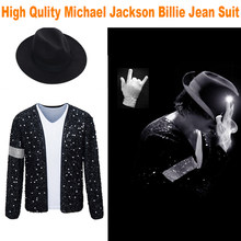 Mj michael jackson casaco billie jean jaqueta & luva crianças adulto masculino e feminino festa cosplay traje roupas