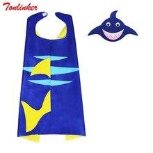 Cartoon Shark Cloak+Mask Set Cosplay Ocean Animal Party Costume Blue Coat Children
