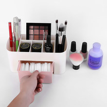 Pink Blue Green Plastic Makeup Organizer Make Up Brush Storage box with Drawer Cotton Swabs Stick Storage case Jewelry Box(China)