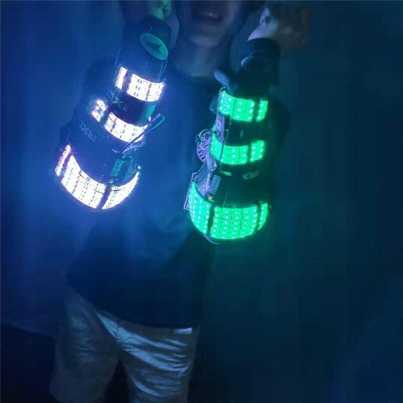 RE76 бар для певицы для сцены носит костюмы со светодиодами dj rave RGB Красочные легкие руки робот для мужчин armor arms disco носит светящиеся реквизиты