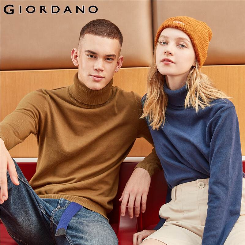 Giordano Men Sweater Turtleneck Knitted Sweater Men 100% Cotton Slight Stretechy Soft Blusa De Frio Masculino 01059858