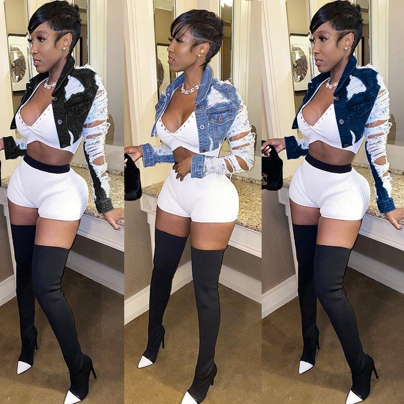 H09b2d21f128a48cc9b0520c9746f108by Plus Size Ripped Hole Cropped Woman Jean Jacket Women XXl Blue Bomber Short Denim Jackets Jaqueta Long Sleeve Casual Jeans Coat