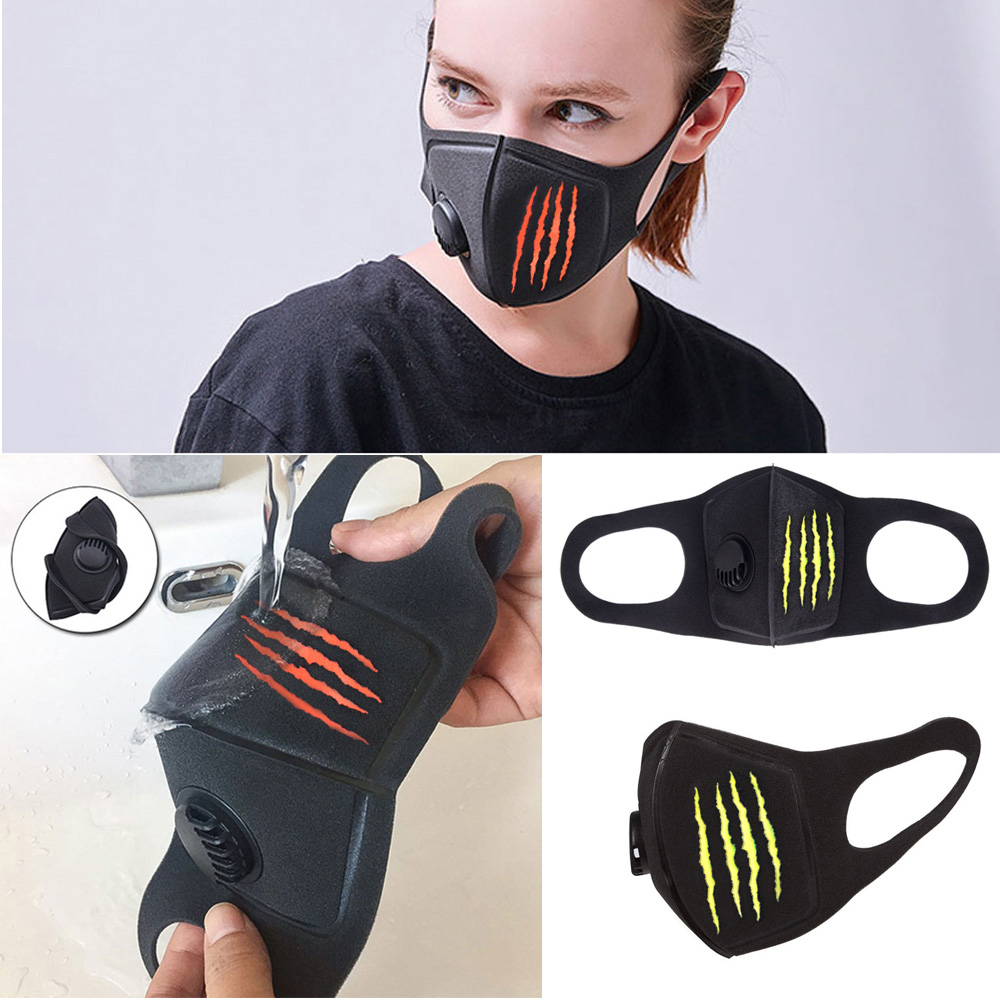 1Pcs Respiratory Dust Mask Monster Claw Mark Men & Women Anti-fog Haze Dust Pm2.5 Pollen 3D Cropped Breathable Valve Mask