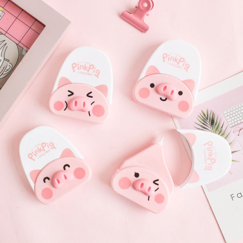 6M Cute Correction Tape Korean Stationery Creative Pink Cartoon Pig Shape Children's Gift Office Student School Supplies Student