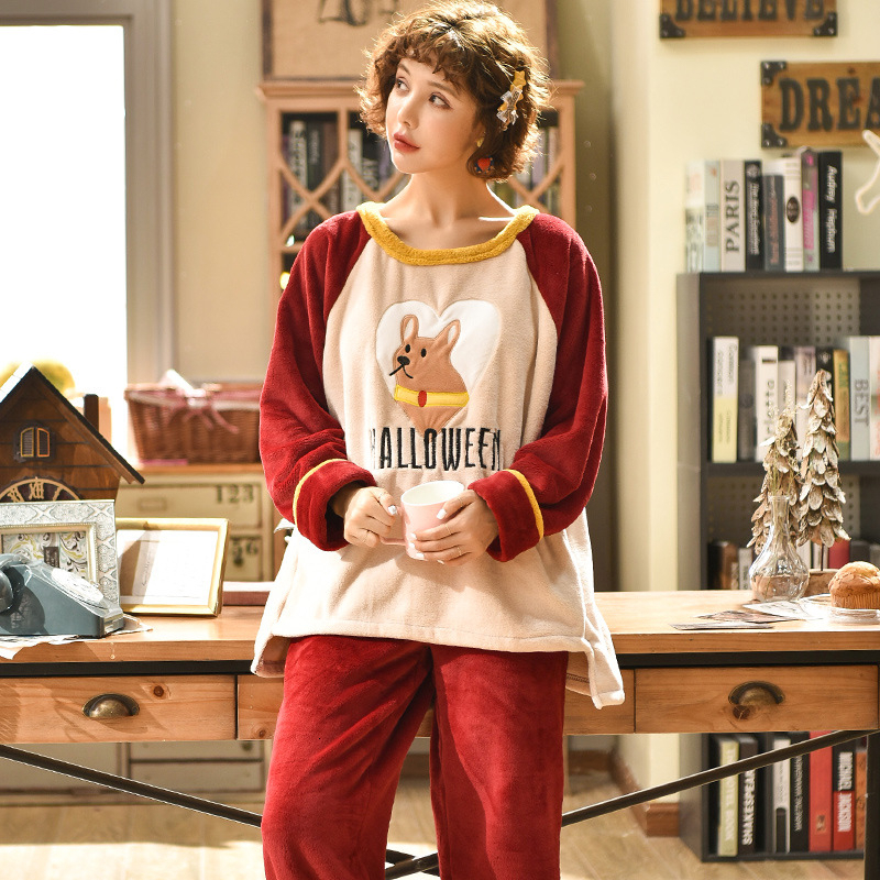 Flannel Fabric Winter Ma'am Warm Cotton Pajamas Sets Coral Thickening Cartoon Woman Pullover Suit Ma'am Home Furnishing Serve