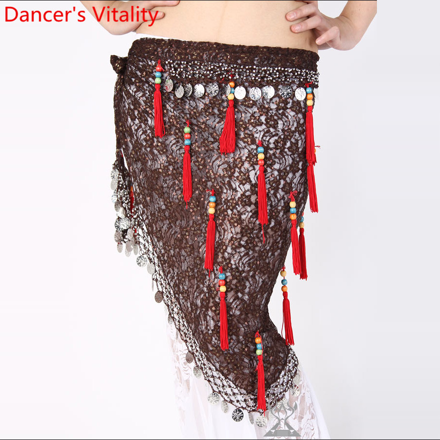 Belly Dance Practice Clothes Women Fashion Tassel Coin Lace Hip Scarf Oriental Indian Dancing Training Outfits Stage Belt