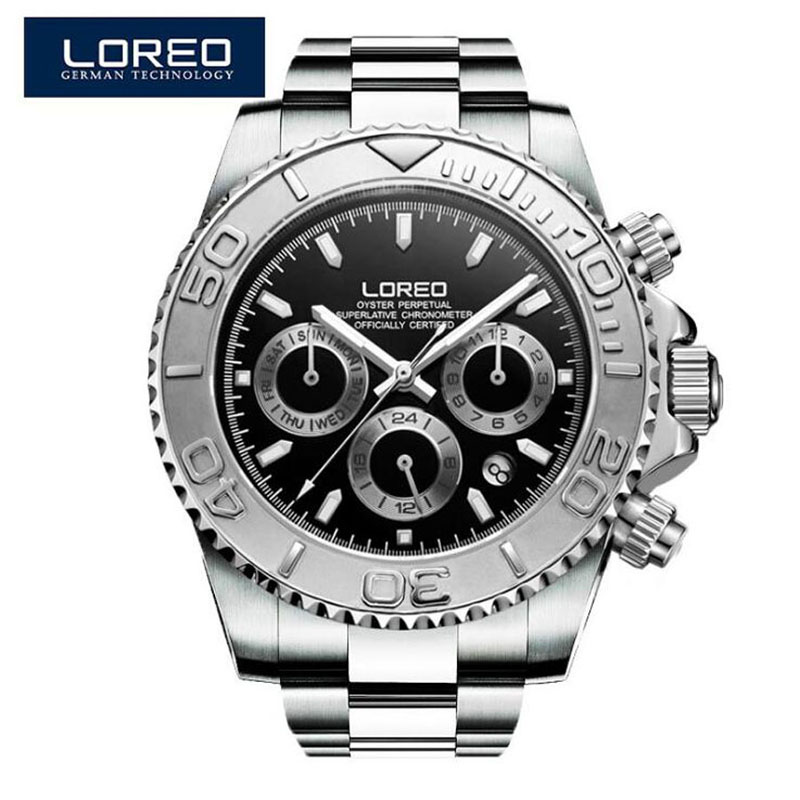 LOREO New Fashion Casual Men Multi-function Mechanical Watch Black Dial Diving Mens Watches Top Brand Luxury Clock 2019