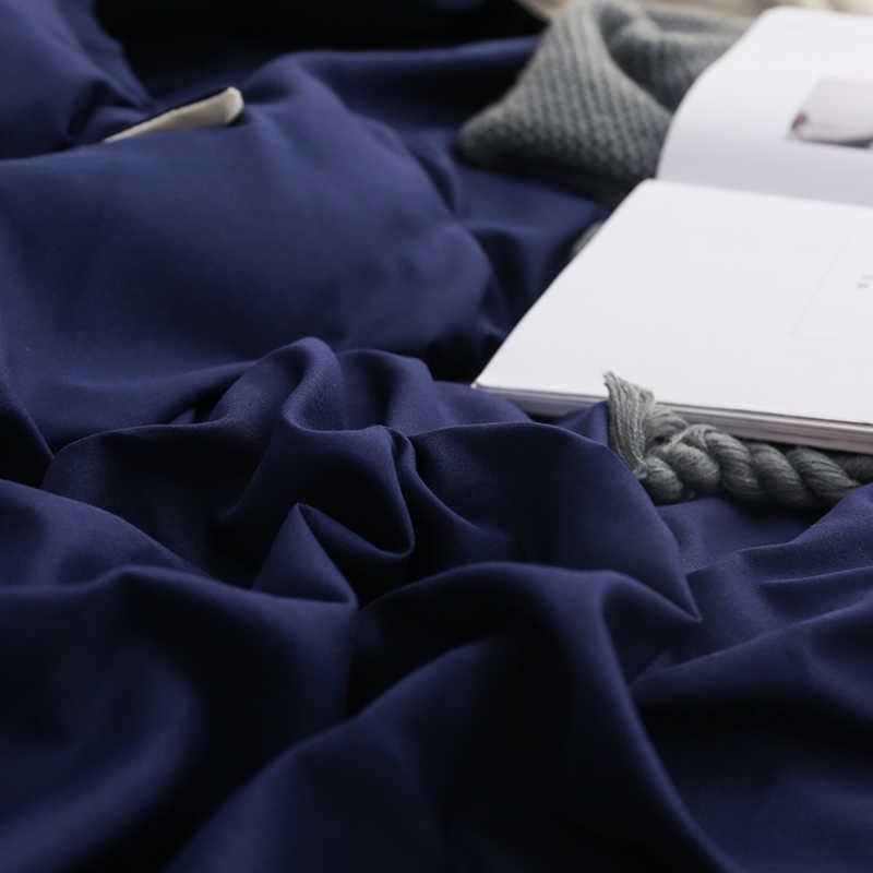 Mùa Đông Mới Màu Xanh Đậm Màu Be Đôi Màu Bộ Chăn Ga Gối Vải Lanh Phẳng Giường Túi Đựng Chăn Gối Nữ Hoàng Full Đơn 3/4