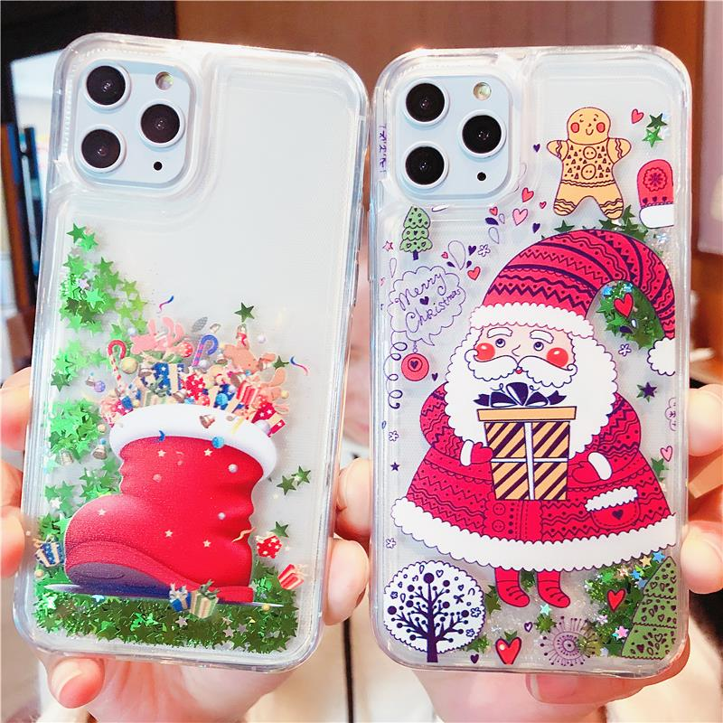 Merry Christmas Quicksand Case For iPhone 11 Pro X XR XS MAX 6 6S 7 8 Plus Case S9 S10 Note 9 10 App Icon Glitter Silicon Cover image