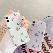 цена на New Simple Blue Butterfly Pattern Phone case Phone bag for iPhone 7 8 plus 11 11pro 11promax