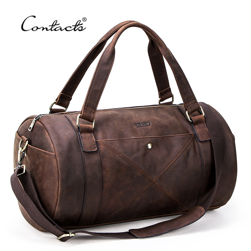 CONTACT'S Crazy Horse Genuine Leather Travel Bag Men Large Capacity Male Shoulder Bags Vintage Travel Duffel Bag Totes Handbags