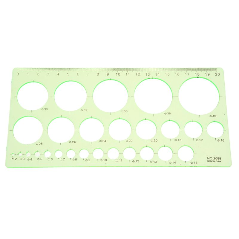 HFES Green Plastic Students Rectangle Shape Drawing Circle Template Ruler
