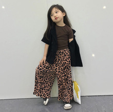 2019 summer new child girl mosquito repellent pants pleated leopard print casual pants  girls pants