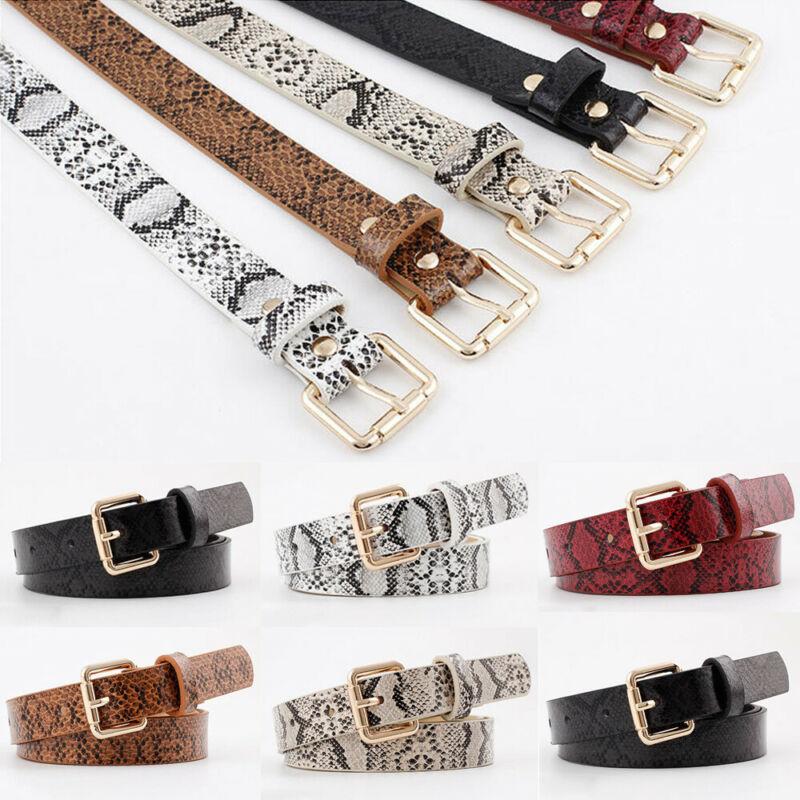 Women Snake Skin Print Belts Gold Square Pin Buckle Waistband PU Leather Belt Women Snake Pattern Dress Jeans Leather Belt