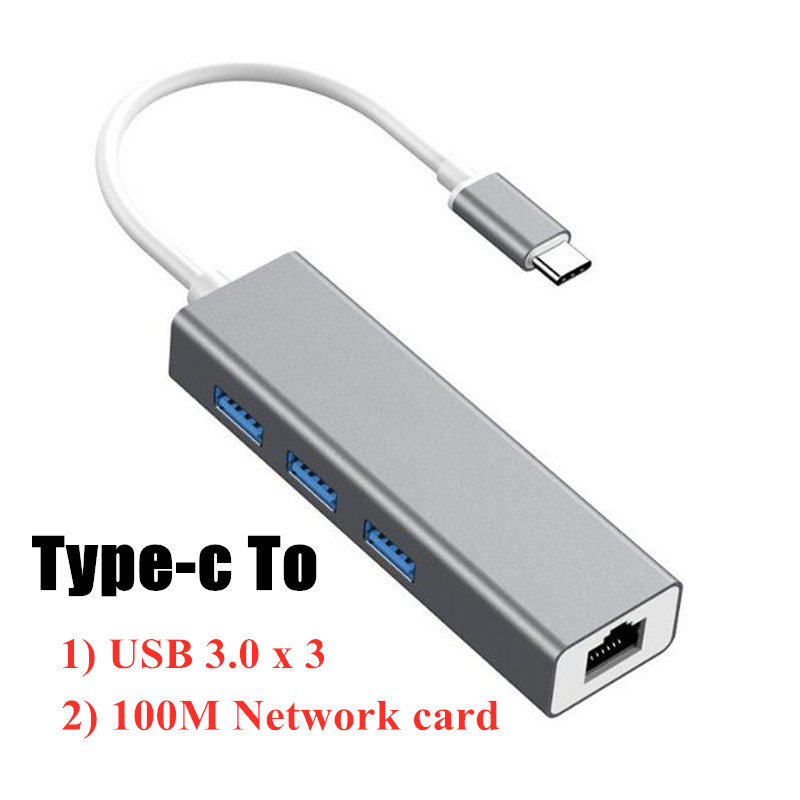 Type-c to rj45 100Mbps Network card to USB 3.0*3 HUB wired Ethernet card free drive notebook interface for computer macbook PC